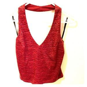 Anchor Blue- brilliant red sequined halter top